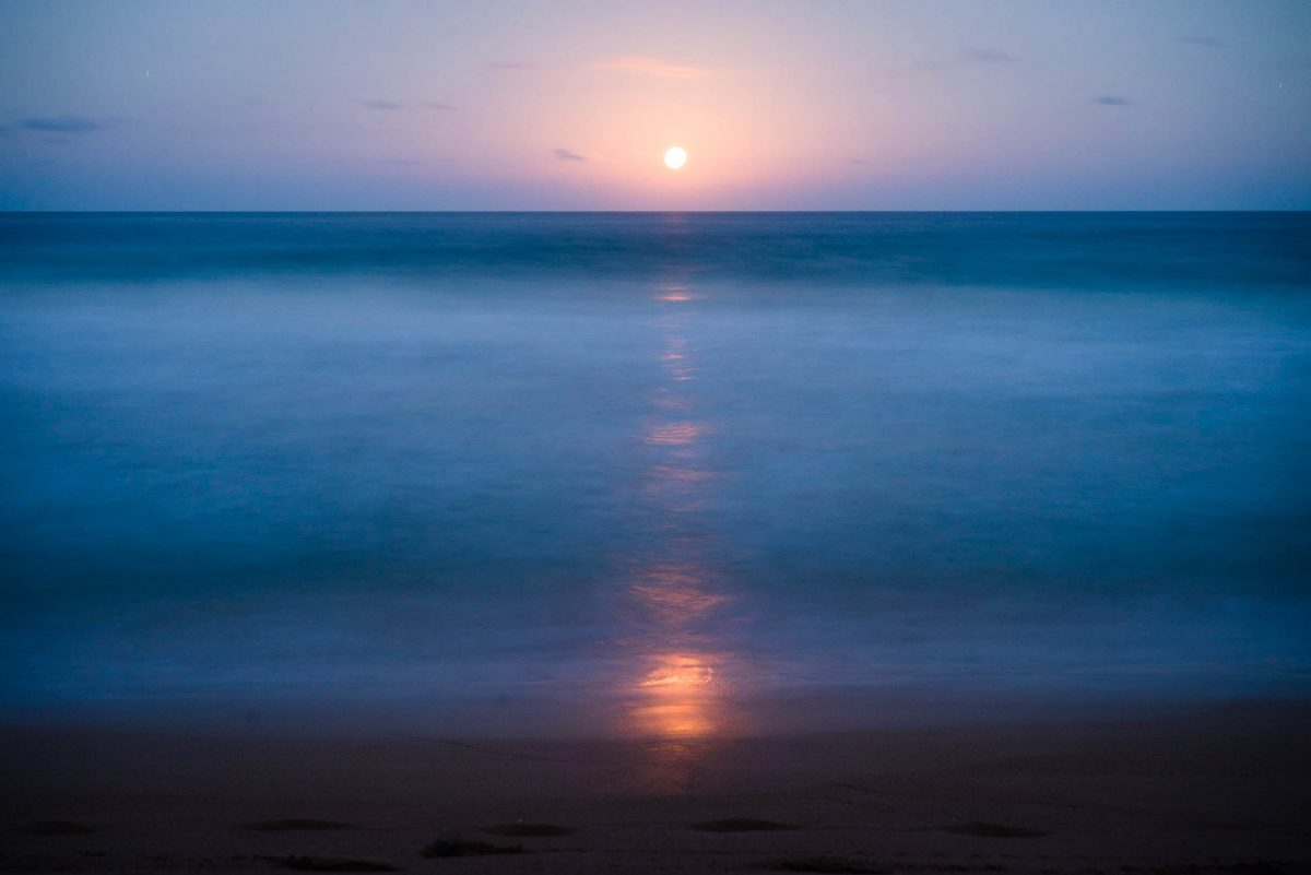 Moon rise on Kailua beach in Kauai, Hawaii
