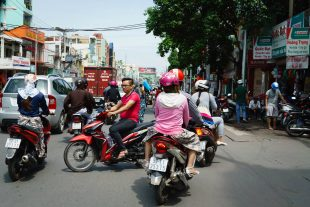 Crossing the street in Vietnam