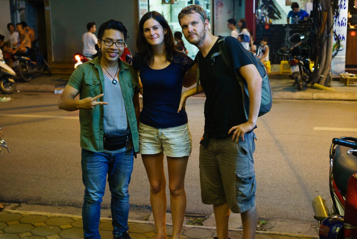 Taking a street food tour in Hanoi