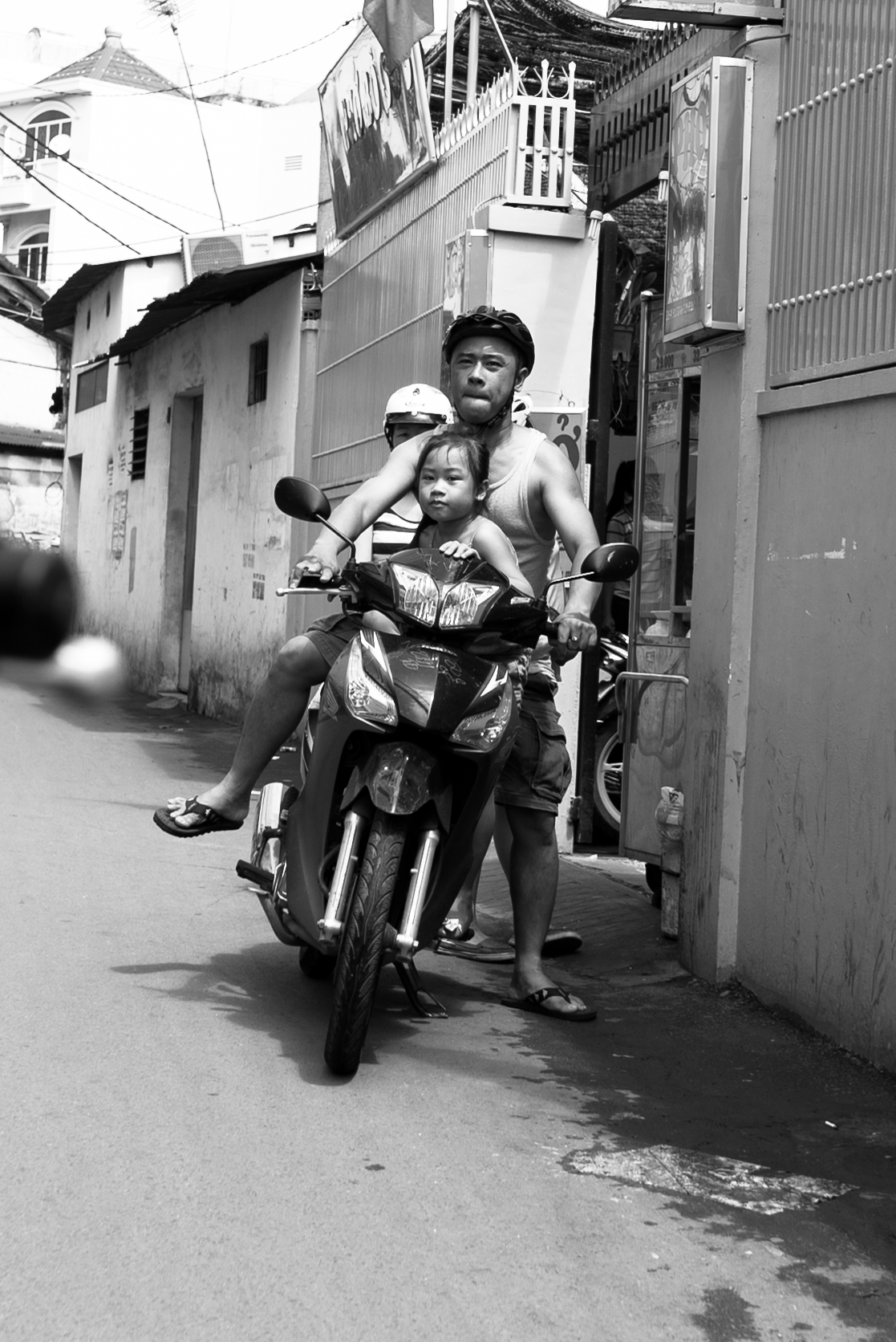 Family on a motorbike in VIetnam